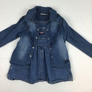 OshKosh B'gosh Dresses - Oshkosh overalls dress and shirt bundle.